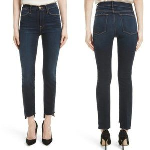 Frame Le High Straight Raw Stagger Jeans in Cabana